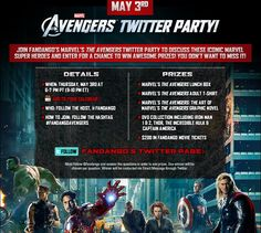 Don't forget about #Marvel's #Avengers Twitter Party on 05/03/12.  ( I want the t-shirt, lunch box and $200 in #Fandango movie tickets).