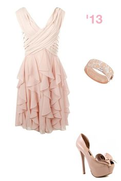 Nude pink dress, matching high heel pumps and bangle bracelet! Christmas semi formal
