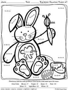 """Easter: """"Egg""""cellent Equations ~ Math Printables Color By"""