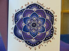 """Blank Card - Mandala Art - """"Protected Healing"""" - Blank Note - Healing Affirmation - Blessing - Get Well Card - Purple - Soothing - Calm by CreateThriveGrow on Etsy"""