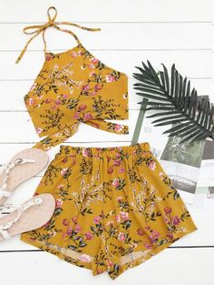 SHARE & Get it FREE | Halter Floral Crop Top With Shorts - Yellow LFor Fashion Lovers only:80,000+ Items • New Arrivals Daily Join Zaful: Get YOUR $50 NOW!