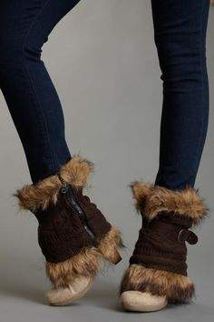 Fairisle Texture Fur Trimmed Boot Sweaters - Muk Luks $30 I need these!!!