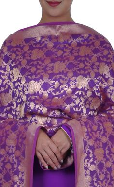 Purple Banarasi Zari Pure Silk Dupatta With Suit