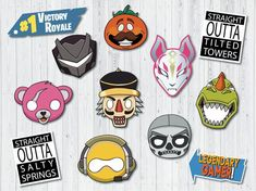 Fortnite birthday party props Fortnite masks Christmas photo booth Bday game printables 7th Birthday Party Ideas, 5th Birthday, Birthday Parties, Birthday Cake, Christmas Photo Booth, Christmas Photos, Easter Egg Designs, Christmas Preparation, Mask Party