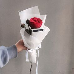 Single Flower + Wrapped in Sheet of Tissue Paper How To Wrap Flowers, Fresh Flowers, Beautiful Flowers, Bouquet Wrap, Hand Bouquet, Single Flower Bouquet, My Flower, Flower Packaging, Arte Floral