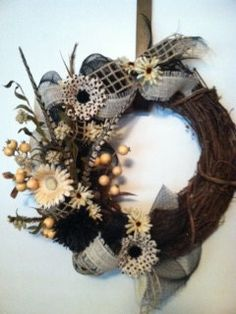Burlap and Mesh Shabby Chic Wreath by PollysPinkTurtle on Etsy, $65.00