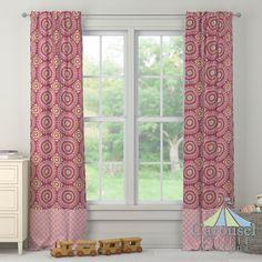 Custom drapes in Kumari Garden Jeevan, Coral Pink Sunburst.  Created using the Drape Designer by Carousel Designs