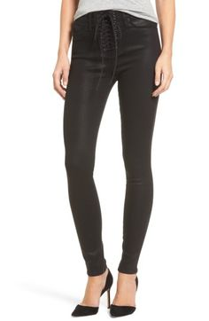 Hudson Jeans Bullocks High Waist Lace-Up Skinny Jeans (Black Coated) Super Skinny Jeans, Skinny Pants, Denim Coat, Hudson Jeans, Jeans Style, Black Jeans, Lace Up, Nordstrom, Clothes