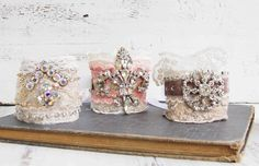 I've been working on some new fabric cuff bracelets. These bracelets are one-of-a-kind using vintage fabrics and rhinestones.  I think thes...