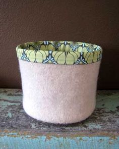 Knit & felted buckets.... these are so fun you could have a tone of them in all sizes. Very easy to make and line.