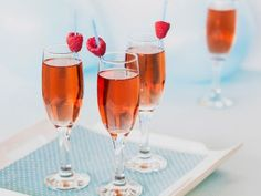 Sparkling apple cider, cranberry juice and club soda mimic fizzy champagne in…