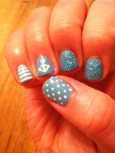 Stripes, dots, aqua, teal, sparkles, anchors