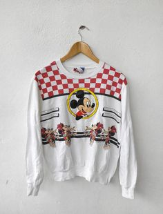 Vintage MICKEY Mouse Walt Disney All Over Print Punk 80s White Minnie Crewneck Sweatshirt Sweater  Tag reads: 100% cotton None but fits like