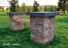 Why not get a little creative with your landscape this summer? This bench was built using Lexington™ Stone and 2x4s to create comfortable and appealing seating. It is an easy, affordable, and unique landscape enhancement. - CLICK the image to view the Lexington™ website!