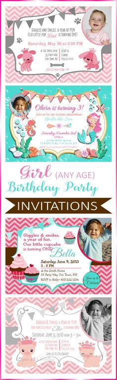 Birthday Party Invitations for Girls - most great for any age - some geared toward toddler birthdays for girls and others geared toward tweens. Many to choose from and I am happy to create custom work for you!