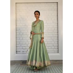 simple Pista green gold Chanderi silk anarkali w delicate gotta-tilla embroidery; paired with a soft tulle dupatta- rimple harpreet narula