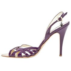 Pre-owned Versace Purple Leather Heels ($180) ❤ liked on Polyvore featuring shoes, pumps, purple, women shoes heels, purple shoes, pre owned shoes, versace shoes, versace footwear and purple pumps