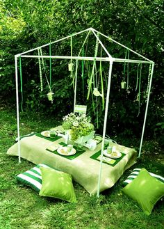 Green Party-garden gazebo frame (pvc pipe) and hung pieces of ribbon, printable paper birds    Read more: http://www.blog.birdsparty.com/2011/10/styled-shoot-green-girls-garden-party.html#ixzz1oRgoyQG3