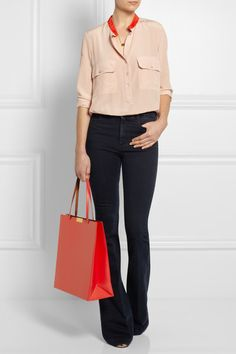 Stella McCartney: Estelle crepe de chine shirt & Amanda high-waisted flared jeans with Beckett large faux leather tote