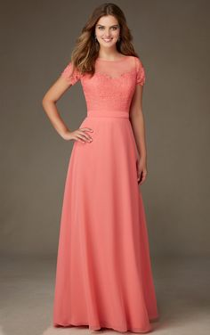 Coral Lace Bodice Short Sleeved Long A-line Chiffon Bridesmaid Dress _1