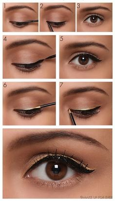 Beautiful Cat Eye Makeup Tutorial The perfect cat eyeliner is ever fashionable. This cool, cat-eye makeup trick will have you nailing your winged liner look every single time! Gold Eyeliner, Cat Eyeliner, How To Apply Eyeliner, Double Eyeliner, Bottom Eyeliner, Eyeliner Types, Eyeliner Tattoo, Eyeliner Pencil, Cat Eye Makeup Tutorial