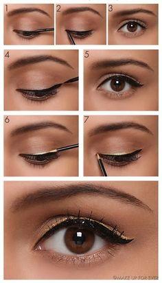 Como fazer maquiagem com delineador dourado duplo