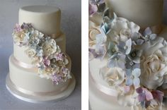 Hydrangea and Rose Cascade Wedding Cake By SugarRuffles on CakeCentral.com