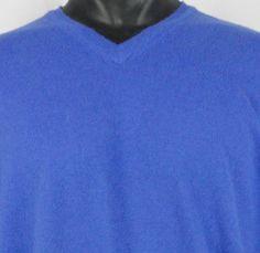 Charles Tyrwhitt Mens L Cotton Cashmere V-Neck Sweater Blue French Ribbed LS EUC #CharlesTyrwhitt #VNeck