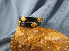 2 Strand Black 5mm Flat Leather Double Wrap Braclet with Gold Magnetic Clasp and Southwestern Style Sliders