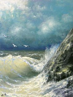 160  Rocky Coast   8x 10 original canvas by vladimirmesheryakov, $15.99
