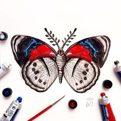 """Day 7 of my challenge #100daybutterflies #100daychallenge """"Perisama Euriclea"""" South America #arts_help #art_we_inspire #imaginationarts #artdaily #craftsposure #challenge #art #painting #illustration #butterfly #handdrawnart #life #nature #phooftheday #doodle #love #colorful #rtistic_feature #featuregalaxy #creative_instaarts  #me #worldbutterflies #happy #watercolor #acrylic #paint #artist_sharing #phanasu @craftsposure"""