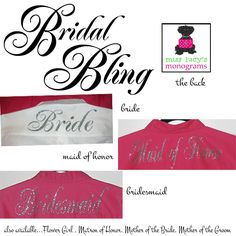 We just added sparkle to our men's shirts..and an option to add the role of each girl on the back of the shirt! In our gorgeous glitter heat press design, your bridal shirts will be one of a kind! miss lucy's monograms Mens Monogram, Monogram Shirts, Men's Shirts, Bridal Party Getting Ready, Bridal Shirts, Bling Wedding, Bride Gifts, Mens Xl, Maid Of Honor
