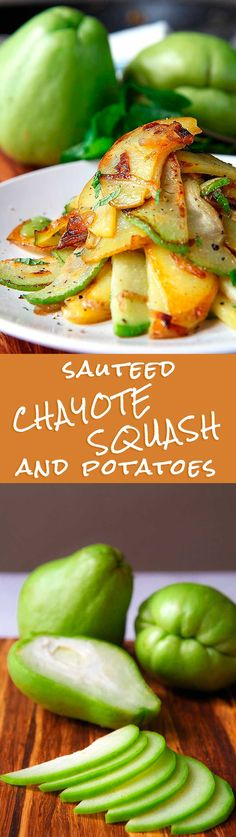 SAUTEED CHAYOTE SQUASH AND POTATOES with shallots and mint - Chayote is a very versatile ingredient: it's really tasty both raw into salads or tartare, and cooked fast and crispy. Today I propose a tasty side, perfect toghether with fish or meats, but tasty to eat as appetizer too!   - saute sauteed vegan vegetarian quick recipe mexican recipes healthy health cooking cuisine aside side appetizer salad