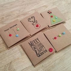 Pack of 5 cute handmade Christmas cards with buttons - reind.- Pack of 5 cute handmade Christmas cards with buttons – reindeer, christmas tree, baubles, ho ho ho - Christmas Card Crafts, Christmas Tree Baubles, Homemade Christmas Cards, Christmas Cards To Make, Christmas Wrapping, Christmas Tag, Simple Christmas, Handmade Christmas, Button Christmas Cards