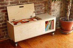 toy storage and book shelf.  Great idea!