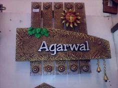 Agrawal name plate Wooden Name Plates, Door Name Plates, Name Plates For Home, 3d Wall Decor, Mural Wall Art, Mural Painting, Paintings, Creative Names, Creative Decor