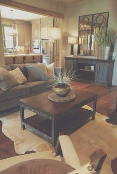 Rustic style attracts people who appreciate traditional values. Rustic living room decorating ideas and furniture layouts. Find inspiration for your home with rustic living room ideas to help your space stand out. Modern Farmhouse Living Room Decor, Chic Living Room, Home And Living, Farmhouse Style, Modern Living, Rustic Farmhouse, Modern Room, Cozy Living Room Warm, Small Living