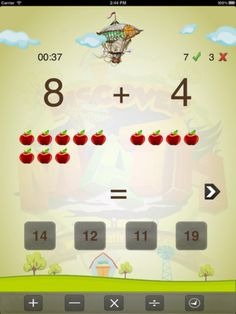 Discover Math ($0.00 on 1/12/13) Discover Math uses a combination of your choice of vibrant colours, simple interface and a reward system to encourage and teach kids. It's really easy to use. The child simply has to tap on an answer to solve the problem. Whether they get the answer right or not, a real voice expresses appreciation for the child choosing a response.   3 levels with different modes.