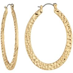 Fragments Hammered Golden Hoop Earrings (19 AUD) ❤ liked on Polyvore featuring jewelry, earrings, gold, yellow gold earrings, 14 karat gold hoop earrings, 14k earrings, gold oval earrings and golden earring
