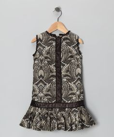 $19. Take a look at this Black & White Pleated Drop-Waist Dress - Toddler by Trish Scully Child on #zulily today!