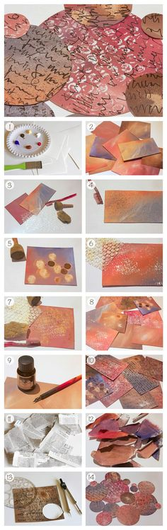 Abstract painting: Mixed Media Tutorial, Part 1/4. Acrylic paint, stamps and ink. www.deschdanja.ch