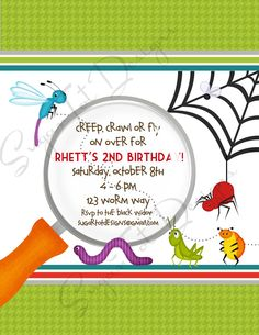 Printable or Emailable Bugs Insect Birthday Party Invitation ...