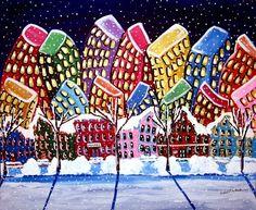 City Neighborhood Winter Cityscape Whimsical Colorful Original Folk Art Painting. $139.00, via Etsy.