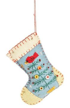 on New World Arts Christmas Tree Stocking Ornament at Blanket stitching trims a handcrafted stocking ornament embellished with appliquéd holiday motifs. Felt Christmas Stockings, Felt Stocking, Stocking Tree, Felt Christmas Decorations, Felt Christmas Ornaments, Stocking Ornaments, Christmas Sewing, Handmade Christmas, Christmas Stocking Pattern