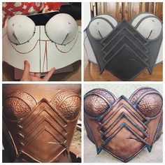 The four stages of my first ever foam or breastplate construction: Top Left: base construction made of TnT Cosplay supply foam. Constructed using @evilted_channel as a guide. My two biggest takeaways were make sure your pattern is spot on to how you'd like and be sure to use a hairdryer on the Barge cement until it looks like it's starting to dry. This makes it tacky and will instantly stick instead of you holding things. Top Right: detailing was added using standard craft foam. Pieces were…