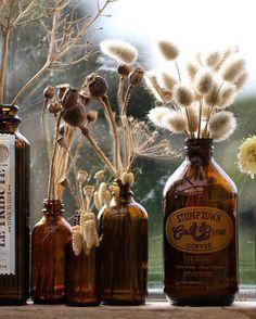 Brown Bottles, Amber Bottles, Amber Glass, Glass Bottles, Seasonal Decor, Fall Decor, Vanilla Mug Cakes, Medicine Bottles, Aesthetic Room Decor