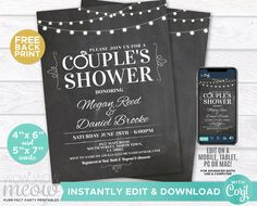 Couples Shower Invite Engagement Invitation Chalk Party INSTANT DOWNLOAD Elegant String Lights Personalize Digital Edit Printable WCWE011 Printing Websites, Printing Services, Online Printing, Couples Shower Invitations, Engagement Invitations, Couple Shower, Photo Logo, Wow Products, Letter Size