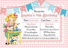 Personalized Printable Vintage Baking Cooking Dessert Party Invitation. DIY Party!