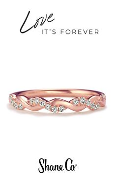"""A delicate swirl of rose gold and diamonds for a band that says, """"I'll love you forever. This brilliant infinity design features 18 round pave-set diamonds at approximately .15 total carat weight. These dazzling, hand-matched stones are set in a quality 14k rose gold setting."""