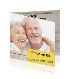 Fotokaart jubileum met verf vegen 40 jaar getrouwd